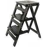 ESGT Der Tritthocker Klapp Stufen, Trittleiter aus Holz, Treppenstuhl klappbar, Leiterstuhl Hockerleiter Klapphocker, Faltstuhl Trittstuhl Haushaltstritt