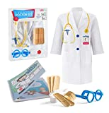 Litti City Doctor Kit for Kids - Complete Doctor/ Vet Accessories with White Doctor Coat, Stethoscope & Medical Kit - Doc Coat Costume & Tools - Pretend Play for Boys & Girls Pretend Play