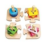 Hape Kreatives Steckpuzzle von Hape | Holz Stapelspiel Problemlösungspuzzle für Kleinkinder, Stapelspiel mit verschiedenen Formen, feste Stäbe und helle Farben