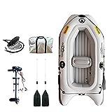 Set Schlauchboot Kajak Angelboot Inflatable Boat für 4 Personen Abnehmbarer Motor PVC mit Kissen und Luftventil Faltbar zum Surfen 255x131cm,B