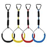 4 Stück Klettern Ringe für Kinder, Outdoor Indoor Kinder Ninja Ringe zum Aufhängen belastbar bis 160KG, Klettergeräte Schaukeln für Garten