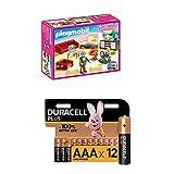 PLAYMOBIL Dollhouse 70207 Gemütliches Wohnzimmer, mit Lichteffekt, ab 4 Jahren + Duracell Plus AAA Alkaline-Batterien, 12er Pack