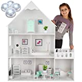 Kinderplay Puppenhaus Holz Groß, Barbie Puppenhaus - Puppenhaus Holz Version mit mintgrünem Zubehör, 38 Zubehörteile enthalten, Barbiehaus aus Holz, Modell GS0023A, LED-Licht