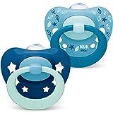 NUK Signature Schnuller   18-36Monate   BPA-freier Schnuller aus Silikon   blaugrüne Sterne   2Stück