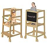 Lernturm Kinder Child Standing Tower mit Sicherheitsschiene Mit Einer Tafel Kinder Schemel Learning Tower für Kleinkinder 18 Monate bis 3 Jahre alt für Küche- Badezimmer-Counterlernen