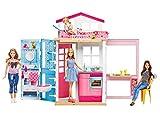 Mattel Barbie DVV48 - 2-Etagen Ferienhaus und Puppe, Ankleidepuppen-Zubehör