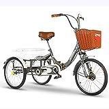 Erwachsenendreirad Faltbar 20 Zoll 3 Räder Cruise Bike Dreirad Pedal Warenkorb Lastenfahrrad Stoßdämpfergabel Mit Einkaufskorb Zum Senioren Frauen Männer (Color : Gray)