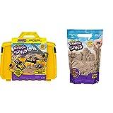 Kinetic Sand Baustellen Koffer mit 907 g Kinetic Sand & 907 g Beutel mit magischem Indoor-Spielsand naturbraun