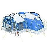 Skandika Nimbus für 8 Personen | Campingzelt mit 3 Schlafkabinen, wasserdicht, 5000 mm Wassersäule, 2,15 m Stehhöhe, versetzbare Frontwand, großer Wohnraum