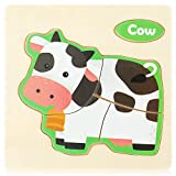 Holz Tier Puzzles Cartoon Tier Muster Puzzles Spielzeug Kleinkind Lernen Lernspielzeug Handgefertigte Kinder Early Education Jigsaw Puzzles Spielzeug Geschenk für Kleinkind Jungen Mädchen(B)