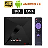 Android 9.0 TV Box, Android Box 4GB RAM 32GB ROM, ATETION MAX RK3328 Quad Core 64bit Smart TV Box, WiFi Dual 2.4G, BT 4.1, Box TV UHD 4K TV, USB 3.0