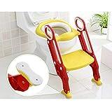 Toilettensitz WC Sitz Toilettentrainer mit Treppe Kinder Töpfchentraining Kindertoilette, Kinder Toilettenstuhl (Rot und Gelb)
