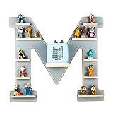 BOARTI das Original Kinder Regal Buchstabe M in Grau - geeignet für die Toniebox und ca. 48 Tonies - zum Spielen und Sammeln