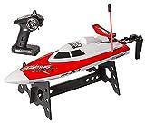 HYCy Ferngesteuertes Boot, für Erwachsene und Kinder, RC-Boot für Pools und Seen, Wasserspielzeug (TR-800 Rot)