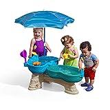 STEP2 Spill & Splash Seaway Wasserspieltisch   Großer Wassertisch mit 11-teiligem Zubehör Set & Sonnenschirm   Garten Wasser Spieltisch für Kinder in Blau