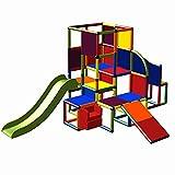 move and stic Josefine 6023 großer Spielturm Spielhaus Kletterturm mit Kleinkindrutsche, Treppe, Krabbelröhre und Rutsche - Indoor und Outdoor