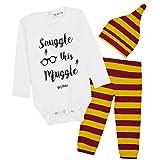 Harry Potter Baby Body Langarm, Baby Strampler Zweiteilig, Baby Overall Schlafstrampler (Burgund, 3-6 Monate)