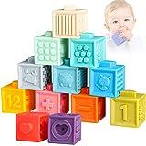 Sunarrive Weich Baby Bausteine - Motorikspielzeug Bauklötze Stapelwürfel - Babyspielzeug Badespielzeug - Montessori Sensorik Spielzeug Beißring Stapelspiel für Kleinkind ab 6 9 12 Monate 1 2 Jahre