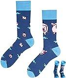 TODO Colours Lustige Socken mit Motiv - mehrfarbige, bunte, Verrückte für Herren und Damen (39-42, Kleines Ferkel)