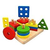 Euyecety Holzpuzzle Sortier Stapelspielzeug Lernspielzeug, Montessori Kinderspielzeug für 2 3 4 Jahre, Geometrisches Farberkennung Entwicklungs Sensorisches Spielzeug, Klassisches Steckspielzeug (ZTZ)