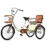 zyy Dreirad für Erwachsene 20 Zoll 1 Gang mit Korb Dreirad für Erwachsene Senioren Shopping Zusammenklappbar Fahrräder Cruise Und Einkaufskorb Warenkorb Lastenfahrrad (Color : Beige)