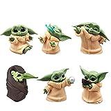 HONGECB Star Wars Mini Figuren Set, Baby Yoda Action Spielzeug, Baby Yoda Spielzeug, Mini Figuren Tortendeko Geburtstag Party, Kinder Party Liefert Dekoration, Yoda Action Model Büro Ornament, 6pcs