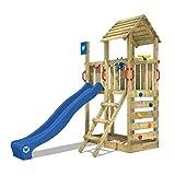 WICKEY Spielturm Klettergerüst Smart Flash mit blauer Rutsche, Kletterturm mit Sandkasten, Leiter & Spiel-Zubehör