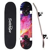 Skateboard Komplettboard 31x8 Zoll für Anfänger, Soldow 7-lagigem Kanadischem Ahornholz Cruiser Skateboard für Kinder Jugendliche Erwachsene, Kosmische Nebel Double Kick Deck Concave Skateboard