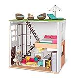 LORI 45733 Puppenhaus Loft Spiel Set, Zubehör für Puppe 15cm, Puppenstube, Wohnung, Dachterrasse, Wohnbereich, Kochecke, offene Küche, Bett, offen