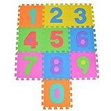 Puzzlematte Kids 123, 10 TLG. Puzzlematte für Kinder aus rutschfestem Eva - große Spielmatte zusammensteckbar, jedes Teil 30 x 30 x 1 cm - Kinderteppich zum Puzzeln mit Zahlen