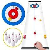 Rolimate Curling Spiel Tabletop Shuffleboard Familienspiele für Kinder und Erwachsene, Brettspiele Tischspiel mit 8 Rolllern 6 Bowling, Montessori Reisespiel Geburtstagsgeschenke für 3 4 5+ Jahre