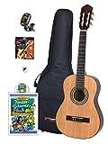Voggy's Kindergitarren-Set 1/2 - Gitarre für Kinder ab 6 Jahren im Komplettset mit Zubehör auch geeignet für Anfänger, natur