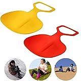OUCRIY 2PCS Schneeflitzer Kinder Poporutscher Kunststoff Schneerutscher Tragbare Outdoor Pad Board Spielzeug für Kinder Zufällige Farbe