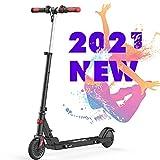 RCB Roller Elektro Scooter Faltbar verstellbar für Kinder 5,5 Zoll Geschwindigkeit max. 20 km/h Licht Wasserdicht IP4 reflektierend Aufkleber Rutschfester Lenker (Black)