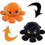 Oktupus Stimmungs Kuscheltier, Octopus Plüschtier Doppelseitiges Flip Oktopus Plüsch Wenden, Kawaii Plush Octopus Kuscheltier Kleine Geschenke für Kinder Mädchen Jungen Freundin (Orange-Schwarz)