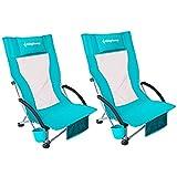KingCamp Campingstuhl Strandstuhl niedrig und faltbar mit Getränkehalter und hoher Netzrückenlehne 2 Pack