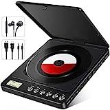 NIXIUKOL Tragbarer CD Player 1500mAh Persönlicher Wiederaufladbar MP3 CD Player mit Doppelte 3.5mm Kopfhörern Buchse Discman Walkman für zu Hause, im Auto und Reisen Schwarz