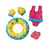 Heless 88 - Schwimm-Set für Puppen, Badeanzug, Clogs, Schwimmring und -flügel mit lustigen Bade- und Wassermotiven, Puppengröße ca. 35 - 45 cm, für Badespaß an heißen Sommertagen