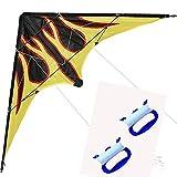 Drachen mit Griff und Schnur, 121 cm, Blau, professionelle Dual Line Lenkdrachen mit Griff und Schnur Good Flying Factory (Größe : L)