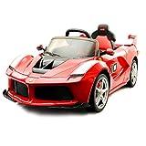RELAX4LIFE Ferrari Kinderfahrzeug DC 12V, Kinder Elektroauto inkl. Fernbedienung und Ladegerät, mit LEDFrontscheinwerfern, Kinderauto mit praktischer Lautstärkesfunktion, für Kinder ab 3 Jahr alt, rot