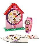 LEGO 9005039 Time Teacher Rosa Kinder-Armbanduhr mit Minifigur und Gliederarmband zum Zusammenbauen , Uhr zum Zusammenbauen und Aktivitätskarten , rosa/weiß , Kunststoff , Gehäusedurchmesser 25mm , analoge Quarzuhr , Junge/ Mädchen , offiziell