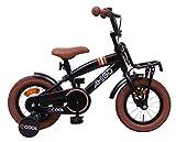 Amigo 2Cool - Kinderfahrrad für Jungen - 12 Zoll - mit Handbremse, Rücktritt, Gepäckträger Vorne und Stützräder - ab 3-4 Jahre - Schwarz