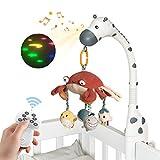 TUMAMA Baby Musikalische Krippe Mobile mit Projektor Spiegel Weiche Hängende Spielzeug Schlaflieder Lichter und Musik, Fernbedienung Rotierende Musikalische Krippe Starlight Baby Bett Bell Spielzeug