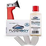 Fugenboy Heimwerker-Kit für Silikon-Fugen - Silikon Fugenwerkzeug Made in Germany   Enthält 50ml Silikon-Entferner, Silikonfugen Abzieher und Fugenmesser   Patentrechtlich geschütztes Werkzeug