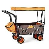 HHYYP 100kg Kapazität Bollerwagen Klappbar Faltbarer Bollerwagen Faltbarer Handwagen Abnehmbarer Überdachungswagen Verstellbare Griffe Für Beach Garden Sports (Color : A)