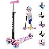 CAROMA Kinderroller 3 Räder Faltbar Kinderscooter Jungen und Mädchen für Kinder Roller ab 3-14 Jahre mit 3 LED PU Laufrad, Verstellbare Lenker (Erdbeere)