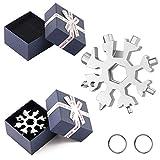 2 Stück Schneeflocke Multi-Tool 18-in-1 universal Werkzeug Schneeflockenwerkzeug tragbares Edelstahl-Multifunktionswerkzeug mit Geschenkbox + Schlüsselring für Outdoor Camping Reise