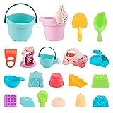 Swetup Sand Strand Spielzeug, Sandspielzeug Sandkasten Spielzeug Set Sandspielset Strandspielzeug Sand und Wasser Spielzeug mit Netztasche Set Strandspielzeug für Kleinkinder (20 Stück)