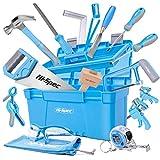 Hi-Spec 25-teiliges Werkzeugset für Anfänger mit Werkzeugkasten, Holzschnitzwerkzeug, Holzmeißel und Holzhammer, Handsäge, Bügelsäge und mehr für Kinder und junge Tischler