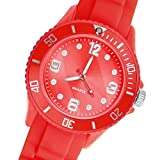 Taffstyle Deutschland Damen Uhr Analog Quarz mit Silikon-Armband Sport Farbige Sportuhr Bunte Armbanduhr Herren Kinder 34mm Rot